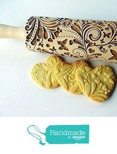 SPRING embossing rolling pin. Wooden embossing rolling pin with flowers and butterflies. Embossed cookies. Gift for Mother. Gift for Grandmother from Sun Crafts https://www.amazon.com/dp/B01EJ4Y7NS/ref=hnd_sw_r_pi_dp_uMSIyb2EQ85GD #handmadeatamazon