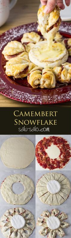 Camembert Snowflake - a treat consisting of cranberry sauce and bacon filling puff pastry twists served with hot and gooey camembert cheese in the center.