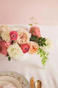 Garden roses and ranunculi