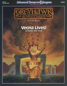WGA4 Vecna Lives! (2e) - Greyhawk | Book cover and interior art for Advanced Dungeons and Dragons 2.0 - Advanced Dungeons & Dragons, D&D, DND, AD&D, ADND, 2nd Edition, 2nd Ed., 2.0, 2E, OSRIC, OSR, d20, fantasy, Roleplaying Game, Role Playing Game, RPG, Wizards of the Coast, WotC, TSR Inc. | Create your own roleplaying game books w/ RPG Bard: www.rpgbard.com | Not Trusty Sword art: click artwork for source