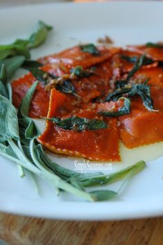 Simply Suzanne's AT HOME: Honey Roasted Pumpkin Ravioli with sage and browned butter