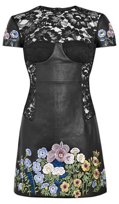 Christopher Kane Jenny Leather Lace Floral Embroidered Dress