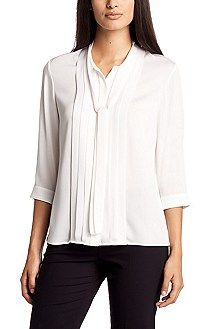 Hugo Boss Blouse 'Baluka' in a silk blend, Natural