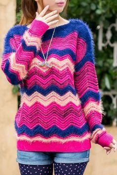 Zigzag Pattern Mohair Sweater OASAP.com