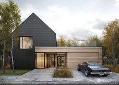 Dark Plate House w Poznaniu. Modern Lake House, Modern House Facades, Scandinavian Architecture, Scandinavian Home, Arch House, Facade House, Style At Home, Rancher Homes, Tamizo Architects