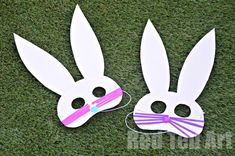 Easy Easter Bunny Masks - no mess - simple and fun! (check out our little videos for Scotch Tape)