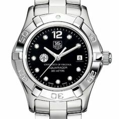 """University of Virginia TAG Heuer Watch - Women's Steel Aquaracer Watch with Black Diamond Dial by TAG Heuer. $2995.00. Swiss-made Quartz movement.. Officially licensed by University of Virginia. TAG Heuer international two-year warranty. Unique TAG Heuer presentation box.. Authentic TAG Heuer watch only at M.LaHart & Co.. University of Virginia TAG Heuer women's Aquaracer watch with UVA seal on stunning diamond dial; """"University of Virginia"""" is written underneath.Elegant..."""