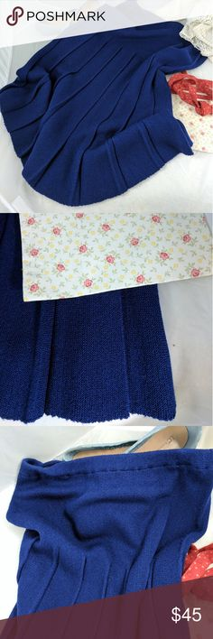 "Vintage Deep blue pleated skirt 6 85% orlon bright acrylic; 15% Antron nylon.  Turn inside out.  Machine wash warm, gentle.  Tumble dry gentle cycle.  27"" top to bottom; 13.5"" across elastic waistband; 17"" across hips. Skirts Midi"