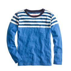 Boys' long-sleeve ringer tee in colorblock stripe : stripes | J.Crew
