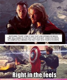 "Confession: It angers me that for all of his talk about being brothers and wanting to help Loki finish this madness ""together"", his go to response was, ""He's adopted."" Why not, ""My brother has, how you mortals say, daddy issues...""? Cuz that ""adopted"" line negated the whole ""brothers by bond"" thing Thor throws around when it suits him."