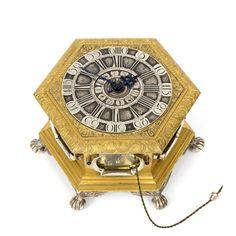 A German hexagonal gilt and engraved table clock, Kriedel Cottbus 1760