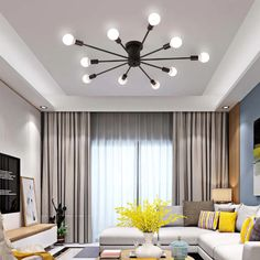 These Modern Minimalist Ceiling Lights are both stylish and elegant and will add a modern contemporary look to any living room, dining room or bedroom. They are available in black and white and 6 lights, 8 lights or 10 lights Ceiling Design Living Room, Ceiling Light Design, Living Room Designs, Living Room Decor, White Ceiling Lights, Interior Design For Living Room, Lights For Living Room, Modern Ceiling Design, Living Room Lighting Ceiling