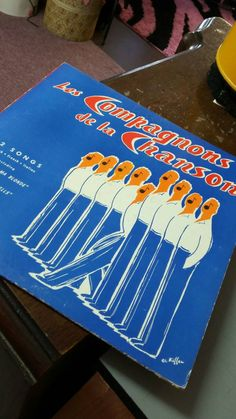 Vintage Vinyl Record Album Les Compagnons de la Chanson Angel Records 40's 50's Mid Century Music French Charles Kiffer Illustration Aqua by OffbeatAvenue on Etsy