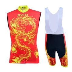 Men's Red Dragon Sleeveless Cycling Jersey Set #Cycling #CyclingGear #CyclingJersey #CyclingJerseySet