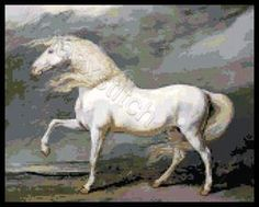 White horse cross stitch kit or pattern | Yiotas XStitch