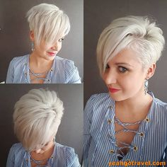 View 19 of 20 photo about 10 cute short haircuts for women wanting a smart new image, 2019 in blonde pixie haircuts for women . View complete photo of 20 short hairstyles ideas here. Cute Short Haircuts, Cute Hairstyles For Short Hair, Short Hair Cuts For Women, Short Hair Styles, Short Asymmetrical Hairstyles, Short Blonde Haircuts, School Hairstyles, Summer Hairstyles, Wedding Hairstyles