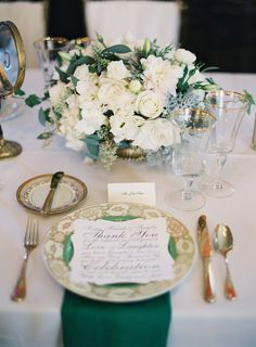 Elegant place setting with pops of #emerald Photography: Virgil Bunao Fine Arts Photography - virgilbunao.com Jewel Tone Wedding Theme { 17 ideas to Use Jewel Tones } http://www.itakeyou.co.uk/wedding/jewel-tone-wedding-theme #jeweltone #wedding #fallwedding
