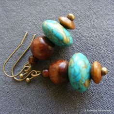 Etsy - Shop for handmade, vintage, custom, and unique gifts for everyone Bronze Jewelry, Saturated Color, Turquoise Necklace, Jewelry Accessories, Jewels, Etsy, Earrings, Inspiration, Style