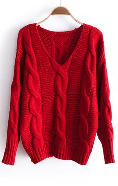 Shop Red Batwing Long Sleeve V-neck Cable Sweater online. Sheinside offers Red Batwing Long Sleeve V-neck Cable Sweater & more to fit your fashionable needs. Winter Sweaters, Red Sweaters, Sweater Weather, Sweaters For Women, Cardigans, Cable Sweater, Loose Sweater, Sweater Shirt, Cable Knit