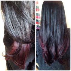 #hairpainting #elumen #red #pink #purple #longhair #goldwell Elumen Hair Color, Black Highlights, Hair Painting, Trendy Hairstyles, Pink Purple, Long Hair Styles, Red, Beauty, Fashion