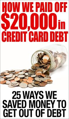From $20,000 in credit card debt down to ZERO! 25 ways to save money and get out of debt fast using real life tips! Personal Finance tips