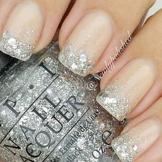 French nails ideas prom nails, wedding nails, silver french manicure, n Glitter French Manicure, French Manicure Designs, Nail Art Designs, Glitter Nails, Silver Glitter, Glitter Bomb, Glitter Shoes, Black Silver, Fancy Nails