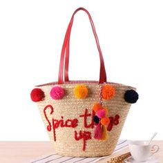 Spice Things Up Handmade Straw Bag