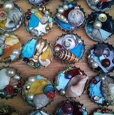 My best selling creation, I have sold hundreds of these, each one is totally unique as I fill the bottle tops with shells, recycled jewellery and stained glass.