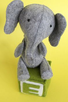 E is for Elephant - by Ric Rac - Softie Pattern - Click Image to Close Animal Sewing Patterns, Stuffed Animal Patterns, Diy Stuffed Animals, Doll Patterns, Stuffed Toys, Sewing Toys, Sewing Crafts, Quilting Projects, Sewing Projects