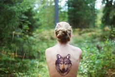 Wolf and Girl in Love | forest, girl, green, tattoo, wolf