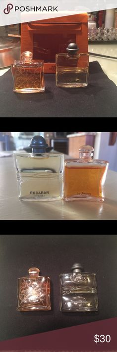 Hermes Miniature Parfums- 2 - . 25 Hermes Miniature Parfums- 2 - . 25  Rocobar- . 25 oz and Fauberg -.25 oz. not used, but one seems a little less full than the other. I got them as a gift and do not use perfume. Hermes Other