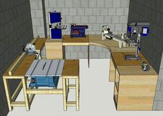 Potential shop layout tools for beginners . Potential shop layout tools for beginners tools Woodworking Shop Layout, Woodworking Bench Plans, Workbench Plans, Woodworking Projects Diy, Diy Wood Projects, Woodworking Tools, Woodworking Techniques, Garage Workbench, Woodworking Patterns