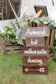 Cumbersome but enthusiastic dancing Funny wedding signs on Here comes the guide Funny Wedding Signs, Wedding Reception Signs, Rustic Wedding Signs, Wedding Signage, Wedding Humor, Our Wedding, Wedding Signing Table, Signs For Weddings, Perfect Wedding