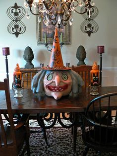 Paper Mache Witch Head Lantern & Paper Mache Candle candy containers.  SOLD!