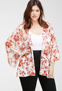 Plus Size FOREVER 21+ Floral Chiffon Kimono
