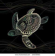 Decorative graphic turtle, tribal totem animal, vector illustration, isolated design elements, green golden on black wave pattern - stock vector Hawaiian Tribal, Hawaiian Tattoo, Turtle Background, Herbst Tattoo, Turtle Images, Autumn Tattoo, Art Du Monde, Sea Turtle Art, Nordic Tattoo