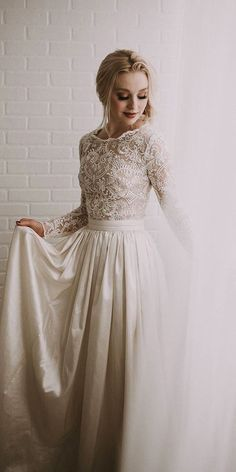 24 Best Lace Wedding Dresses With Sleeves ❤️ modest lace top long sleeve wedding dress robe dresses dresses beach dresses boho dresses lace dresses princess dresses vintage Wedding Dress Tea Length, Lace Wedding Dress With Sleeves, Long Sleeve Wedding, Dresses With Sleeves, Lace Sleeves, Dress Wedding, Wedding Lace, Modest Wedding, Wedding Vows