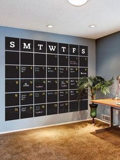 Chalkboard Calendar Wall Decal - Extra Large Stay organized with the help of our extra large chalkboard wall calendar. This calendar wall decal incorporates a black chalkboard vinyl that you can write on and erase. It is applied directly to the wall. Chalkboard Wall Calendars, Chalkboard Vinyl, Large Chalkboard, Chalkboard Wall Bedroom, Large Wall Calendar, Blackboard Wall, Kitchen Chalkboard, Family Calendar Wall, Giant Calendar