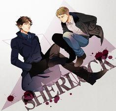 It looks as if John is perched on Sherlock's leg. I laugh.