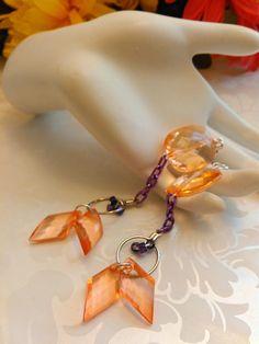Earrings Orange and Purple Pierced Handmade One of a Kind