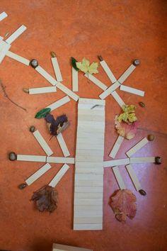 Een herfstboom van kapla, herfstbladeren en vruchten Busy Boxes, Kindergarten, Outdoor School, Autumn Day, Origami, Art Projects, Crafts For Kids, Creative, Painting
