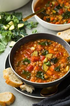 Here's a new, super healthy soup to add to your dinner rotation - this Italian Vegetable Lentil Soup! It brimming with nutritious ingredients and it will f