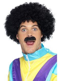 Stag Fancy Dress, Fancy Black Dress, Afro Wigs, Curly Wigs, Curly Afro, Fancy Dress Accessories, Costume Accessories, Moustache, 1980s Fancy Dress