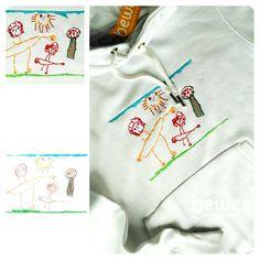 Ficou linda esta sweatshirt :) :) :) Amazing work :) :) :) On aime le sweat brodé :) :) :) #bewee #embroidery #diadopai #kidsdrawings #original #familia
