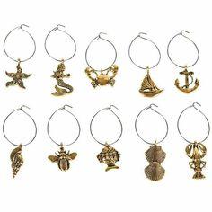 Viinilasikoristeet meri 10 kpl - Sisustusliike Cimla Interior Wine Charms, Gull, Paisley, Charmed, Brass, Drop Earrings, Personalized Items, Bracelets, Jewelry