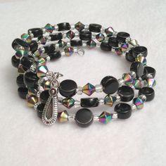 Ladies wrap beadwork bracelet,  black mirrored bicones, silver seed beads memory wire, $22