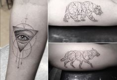 Elegant Fine Line Geometric Tattoos by Dr. Woo  http://www.thisiscolossal.com/2015/04/elegant-fine-line-geometric-tattoos-by-dr-woo/