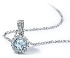 Aquamarine and Micropavé Diamond Pendant in 18k White Gold #BlueNile  #MyBlueNileFaves