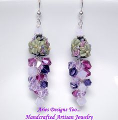 Victorian Blossoms Lampwork Earrings in Shades by ariesdesignstoo, $38.00