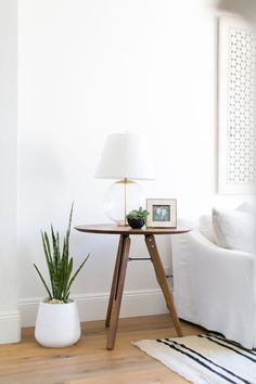 BECKI OWENS Las Palmas Project Living Room. Midcentury sidetable with glass and brass table lamp and succulent styling.